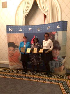 Victa McKenzie, Mercedes Gil, and Celeste Merriweather at national conference, March 2016. Not pictured but also recipients are Gina Frasca and Barbara Moschetta.